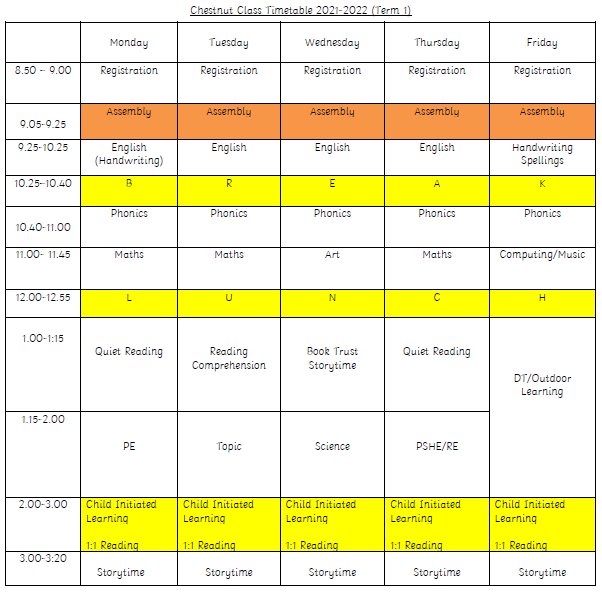 Chestnut Timetable