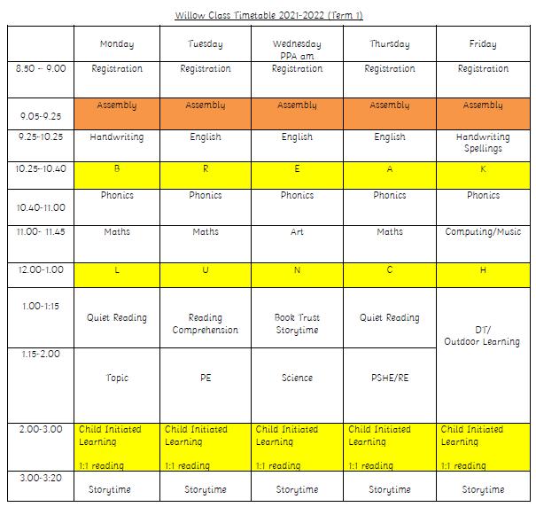 Willow Timetable